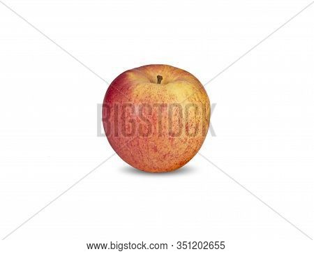 Whole Unpeeled Ripe Apple With Stem On White Background