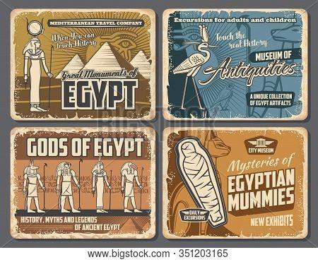 Ancient Egyptian Pharaoh Pyramids, Mummies And Gods Retro Posters Of Egypt Travel Vector Design. Anu