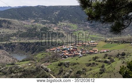 Small Village Of Deresoplan With Mosk And Mountains In Turkey.