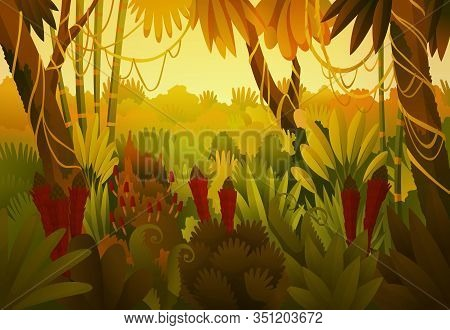 Tropical Jungle Dark Background, Forest, Rainforest, Plant. Vector Cartoon Illustration Of Backgroun