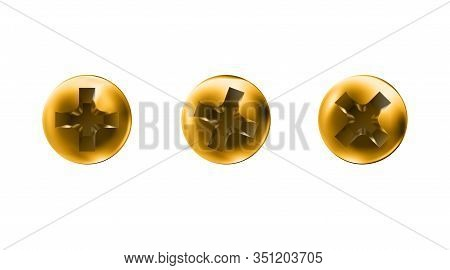 Set Golden Self-tapping Screws, Heads, Gold Caps. Twisted In Surface Screw Isolated On White Backgro