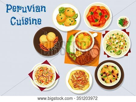 Peruvian Food Vector Design Of Meat And Vegetable Dishes With Dessert. Beef And Chicken Stew With Co