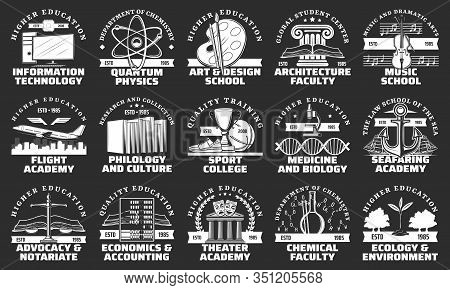 University, School, College And Academy Vector Badges Of Education Design. Books, Music Instruments,