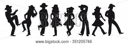 Silhouette Of A Couple Dancing A Country Western On A White Isolated Background. All Girls And Boys