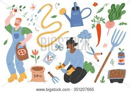 Garden Set, People Gardening, Vector Illustrations Of Garden Gear, Gardening Tools And Supplies, Wom