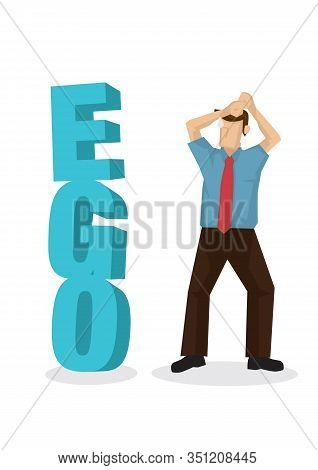 Businessman Facing A 3d Text Of Ego Block When Finding A Way To Success. Concept Of Career Obstacle,