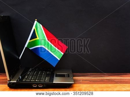 Flag Of South Africa , Computer, Laptop On Table