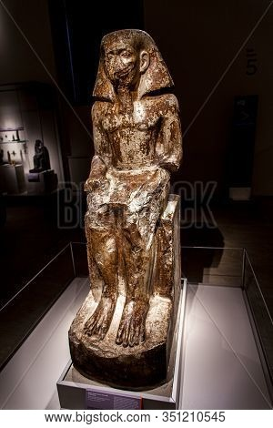 Turin, Italy - June 3, 2015: Statue Of The Governor Wakha, Son Of Neferhotep In Museo Egizio In Turi
