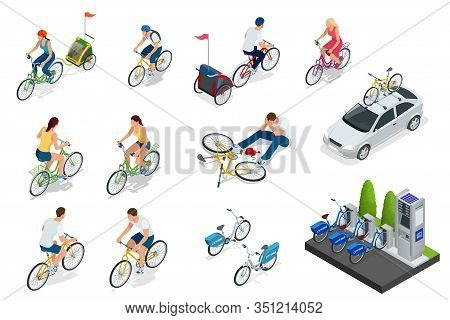 Set Of Cyclists, Car With Bike Holder, Bicycle Parking. Isometric People On Bicycles. Family Cyclist