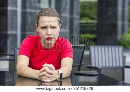 Sad Upset Frustrated Beautiful Girl, Young Exhausted Tired Angry Worried Woman Sitting In Cafe, Suff