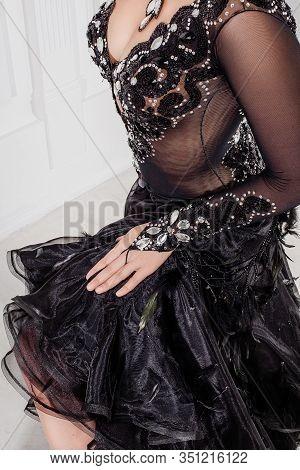 Beautiful Woman Ballroom Dancer, Close Up Hands, Posture, Beautiful Black Dress. Ballroom Dancers On