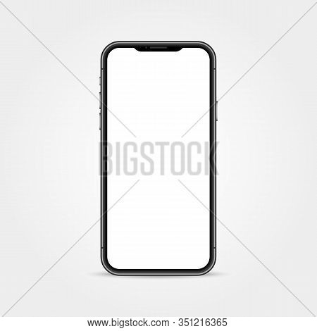 Realistic Phone Mockup. Smart Device Isolated On White Backdrop. Cellphone With Empty Display. Moder