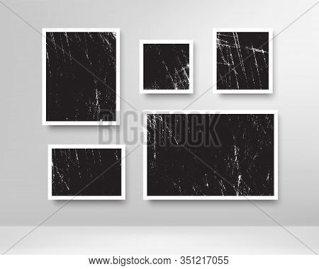 Realistic Scratched Photo Frames. Blank Photos Frame With Grunge Effect, Wall Memory, Retro Image Me