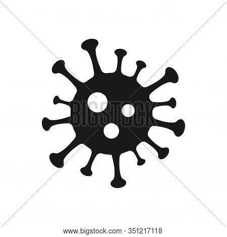 Virus Simple Black Isolated Vector Icon. Corona Virus Or Bacteria Glyph Symbol.