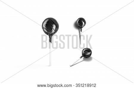 Blank Black Lollipop Foil Wrapper Mockup, Different Views, 3d Rendering. Empty Tasty Goody Package M