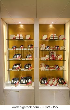 HONG KONG, CHINA - JANUARY 22, 2019: Jo Malone perfumes on display at Lane Crawford in Hong Kong. Jo Malone London is a British perfume and scented candle brand.