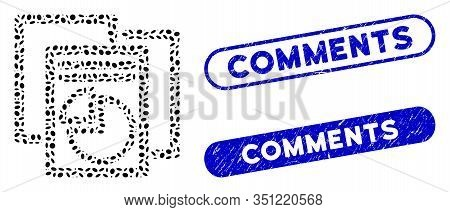 Collage Statistics And Rubber Stamp Seals With Comments Text. Mosaic Vector Statistics Is Created Wi
