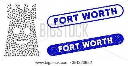 Mosaic Glad Fort Tower And Corroded Stamp Seals With Fort Worth Text. Mosaic Vector Glad Fort Tower