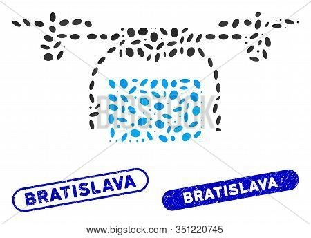 Mosaic Mail Delivery Drone And Rubber Stamp Seals With Bratislava Caption. Mosaic Vector Mail Delive