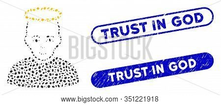 Mosaic Holy Man And Rubber Stamp Seals With Trust In God Caption. Mosaic Vector Holy Man Is Formed W