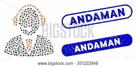 Mosaic Call Center Worker And Rubber Stamp Seals With Andaman Phrase. Mosaic Vector Call Center Work