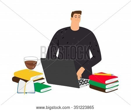 Student Studying. Guy At Computer With Books. Study, Session Time. Self-education Or Online Courses,