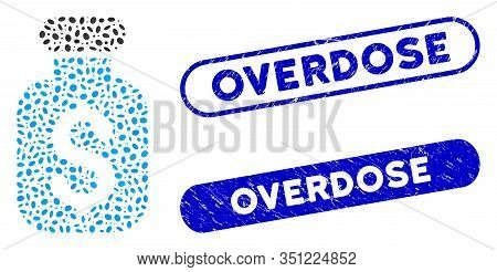 Mosaic Business Remedy And Grunge Stamp Seals With Overdose Phrase. Mosaic Vector Business Remedy Is
