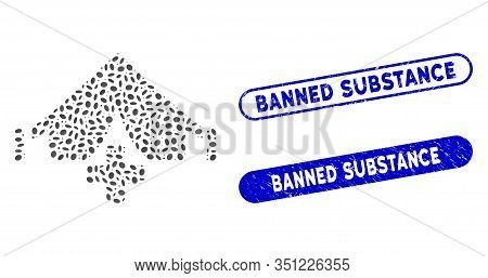 Mosaic Field Hospital And Distressed Stamp Seals With Banned Substance Phrase. Mosaic Vector Field H