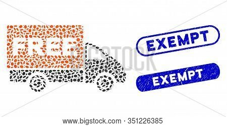 Mosaic Free Delivery And Grunge Stamp Seals With Exempt Text. Mosaic Vector Free Delivery Is Designe