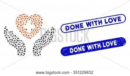 Mosaic Cardiology Care Hands And Grunge Stamp Seals With Done With Love Caption. Mosaic Vector Cardi