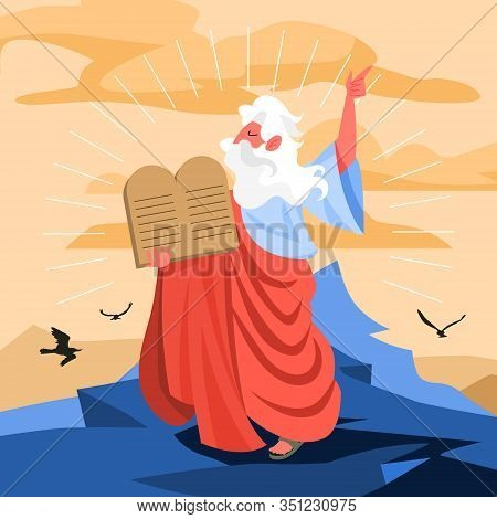 Bible Narratives About Moses Miracle. Christian Bible Character.