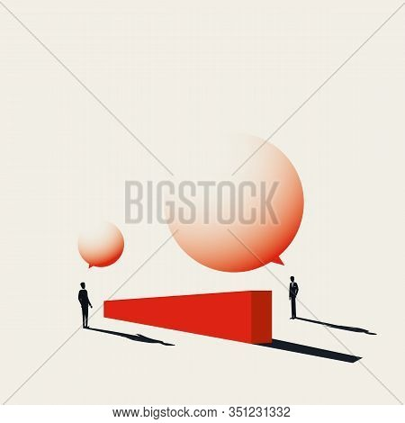 Business Negotiation Vector Concept In Minimal Art Style. Businessman Discussion Over Wall With Spee