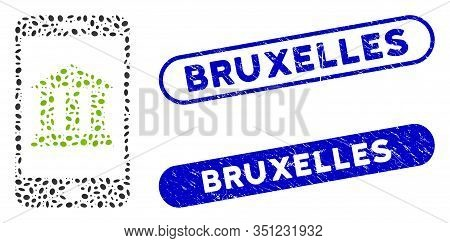 Mosaic Mobile Bank And Grunge Stamp Seals With Bruxelles Phrase. Mosaic Vector Mobile Bank Is Create