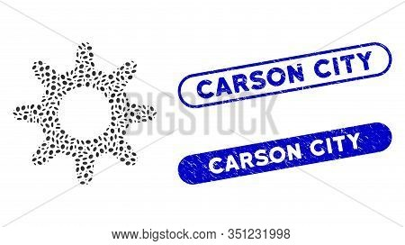 Mosaic Pinion And Grunge Stamp Seals With Carson City Caption. Mosaic Vector Pinion Is Designed With