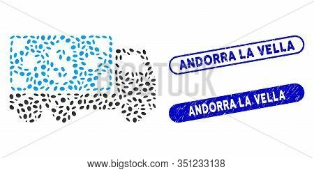 Mosaic Cash Delivery And Distressed Stamp Seals With Andorra La Vella Caption. Mosaic Vector Cash De