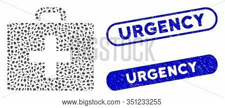 Mosaic First Aid Bag And Grunge Stamp Seals With Urgency Phrase. Mosaic Vector First Aid Bag Is Crea
