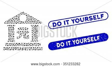 Mosaic Yuan Bank Building And Rubber Stamp Watermarks With Do It Yourself Text. Mosaic Vector Yuan B
