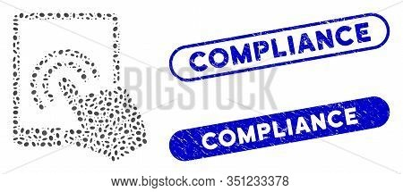Mosaic Tablet Double Tap And Distressed Stamp Seals With Compliance Text. Mosaic Vector Tablet Doubl