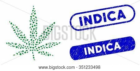 Mosaic Cannabis Leaf And Rubber Stamp Seals With Indica Caption. Mosaic Vector Cannabis Leaf Is Form
