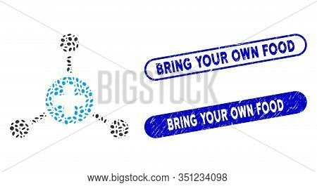 Mosaic Medical Node Links And Rubber Stamp Seals With Bring Your Own Food Text. Mosaic Vector Medica