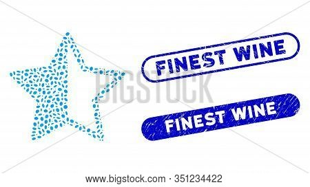 Mosaic Rating Star And Grunge Stamp Watermarks With Finest Wine Text. Mosaic Vector Rating Star Is D