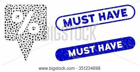Mosaic Percent Map Pointer And Distressed Stamp Seals With Must Have Phrase. Mosaic Vector Percent M