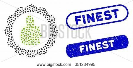 Collage Good Mark And Distressed Stamp Seals With Finest Caption. Mosaic Vector Good Mark Is Created