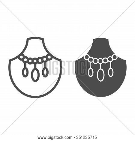 Malachite Necklace Line And Glyph Icon. Gemstone Jewel Vector Illustration Isolated On White. Jewelr