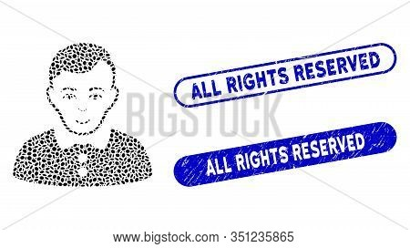 Mosaic Boy And Rubber Stamp Seals With All Rights Reserved Caption. Mosaic Vector Boy Is Designed Wi