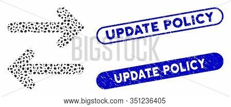 Mosaic Flip Horizontal And Grunge Stamp Watermarks With Update Policy Caption. Mosaic Vector Flip Ho