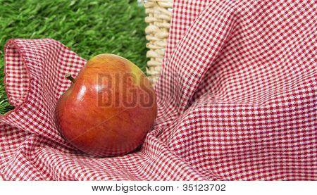 Red Apple In A Picnic Scene 1