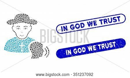 Mosaic Believer Confession And Distressed Stamp Watermarks With In God We Trust Caption. Mosaic Vect