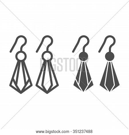 Crystal Earrings Line And Glyph Icon. Gemstone Earrings Vector Illustration Isolated On White. Jewel