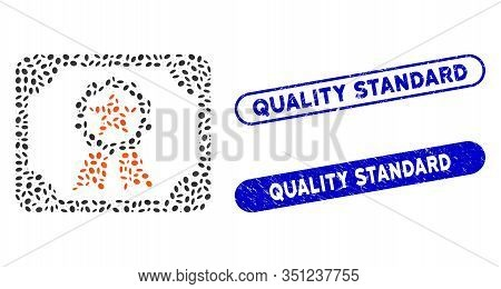 Mosaic Award Diploma And Distressed Stamp Seals With Quality Standard Phrase. Mosaic Vector Award Di